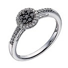 Sterling silver 1/4 carat white & treated black diamond ring - Product number 1329871