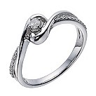 Love's Embrace 9ct white gold 13 point diamond swirl ring - Product number 1330012