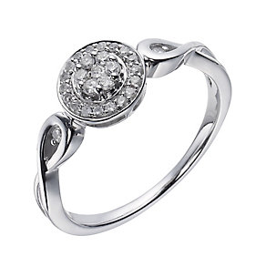 Love's Embrace 9ct white gold 20 point diamond twist ring - Product number 1330284
