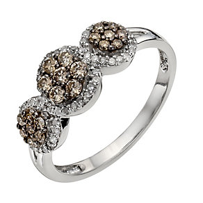 Sterling silver 0.50ct white & natural brown diamond ring - Product number 1330675