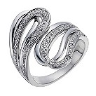 Sterling silver large loop 10 point diamond ring - Product number 1330942