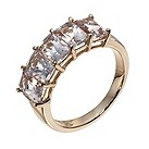 9ct rose gold diamond & morganite 5 stone ring - Product number 1331078