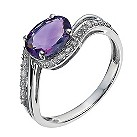 9ct white gold diamond & amethyst oval wave ring - Product number 1331191