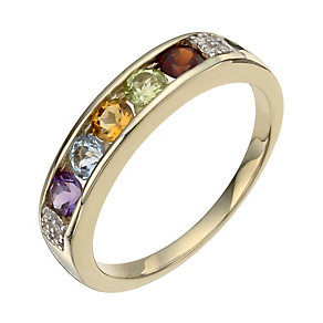9ct yellow gold diamond & multi-stone eternity ring - Product number 1331329