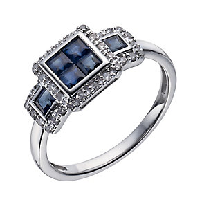 9ct white gold 12 point diamond & sapphire square ring - Product number 1331469