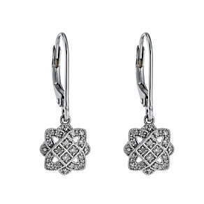 Sterling silver 10 point diamond floral drop earrings - Product number 1331825