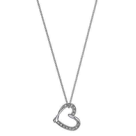 9ct white diamond heart slide pendant