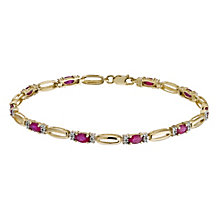 9ct yellow gold ruby & 20 point diamond bracelet - Product number 1331892