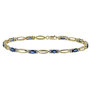 9ct yellow gold 20 point diamond & sapphire bracelet - Product number 1331914