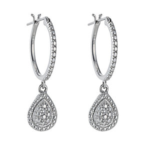 Sterling silver diamond tear drop hoop earrings - Product number 1332031