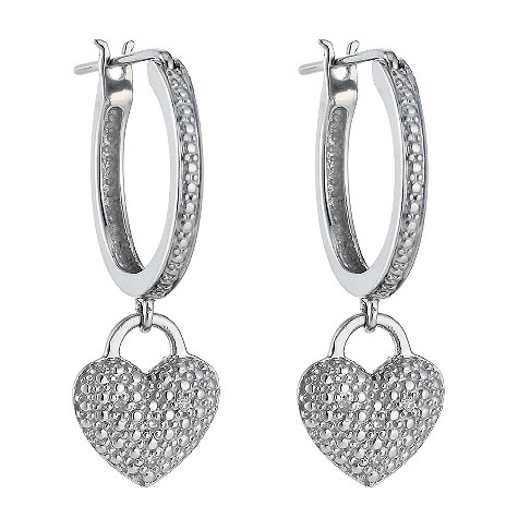 Sterling silver diamond heart drop hoop earrings