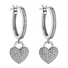 Sterling silver diamond heart drop hoop earrings - Product number 1332058