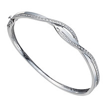 Sterling silver 0.25ct diamond double crossover bangle - Product number 1332090