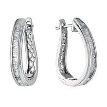 9ct white gold 0.33ct baguette cut diamond hoop earrings - Product number 1332120