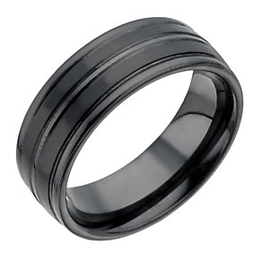 Black Ceramic Groove Ring - Product number 1334565