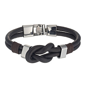 Stainless Steel & Brown Leather Knot Bracelet - Product number 1334956