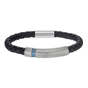 Men's Titanium, Silver & Leather Diamond Set Bracelet - Product number 1335111
