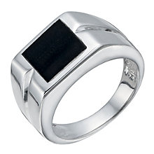 Sterling Silver Men's Square Black Agate Signet Ring - Product number 1336037