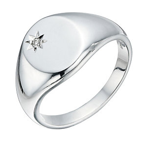 Sterling Silver Men's Diamond Set Signet Ring - Product number 1336592