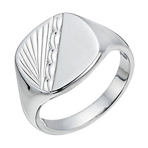Silver Patterned Men's Ring - Product number 1336851