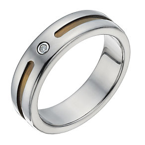 Men's Titanium, Silver & Diamond Set Ring - Product number 1338757