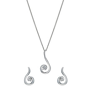 Silver cubic zirconia swirl earrings & pendant set - Product number 1339850