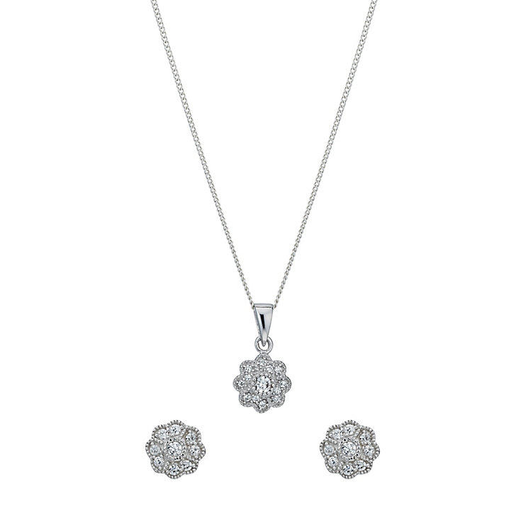 Silver cubic zirconia vintage flower earrings & pendant set - Product number 1339869