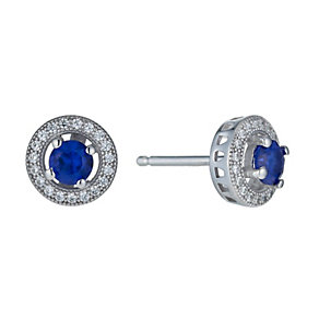 Silver blue cubic zirconia halo stud earrings - Product number 1339923