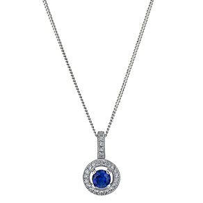 Silver blue cubic zirconia halo pendant - Product number 1339931