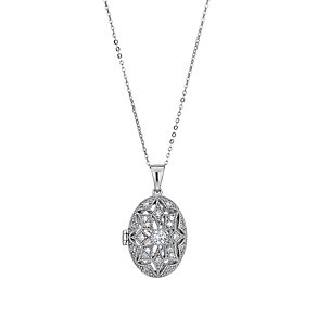 Silver cubic zirconia star oval locket - Product number 1339958