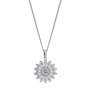 Silver cubic zirconia sunflower pendant - Product number 1339966