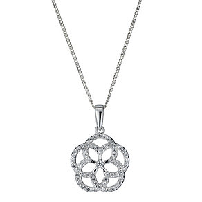Silver cubic zirconia open flower pendant - Product number 1340034