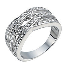 Silver cubic zirconia fancy crossover ring - Product number 1340182