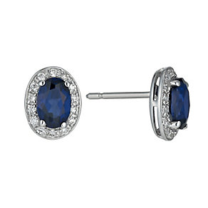 9ct white gold created sapphire & cubic zirconia earrings - Product number 1341138