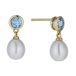 9ct yellow gold freshwater pearl & blue topaz drop earrings - Product number 1341219