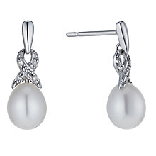 9ct white gold freshwater pearl & diamond twist earrings - Product number 1342142