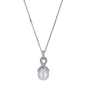 9ct white gold freshwater pearl & diamond twist pendant - Product number 1342193