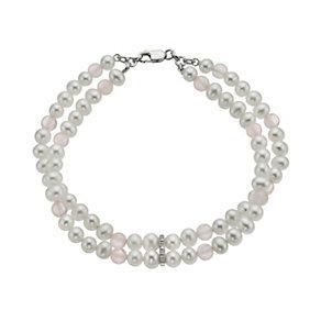 9ct white gold freshwater pearls & rose quartz bracelet - Product number 1342266
