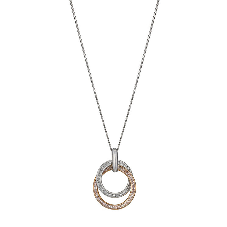 Silver & 9ct rose gold cubic zirconia double circle pendant - Product number 1342614
