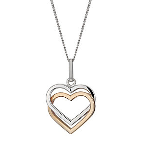 Silver & 9ct rose gold double heart pendant - Product number 1342630