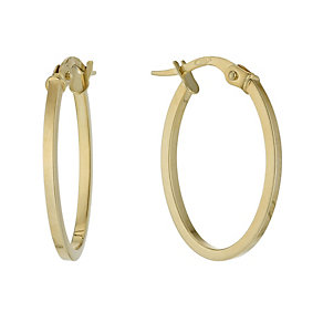 9ct yellow gold oval creole hoop earrings - Product number 1342681