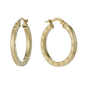 9ct yellow gold diamond cut creole hoop earrings - Product number 1342738
