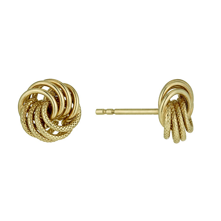 9ct yellow gold knot stud earrings - Product number 1342754