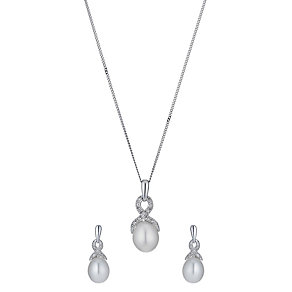 9ct white gold cultured pearl diamond earrings & pendant set - Product number 1342797