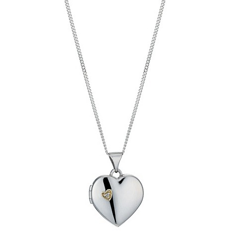 Silver & 9ct yellow gold diamond heart locket