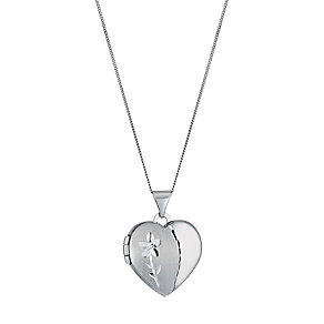 9ct white gold heart locket - Product number 1343548