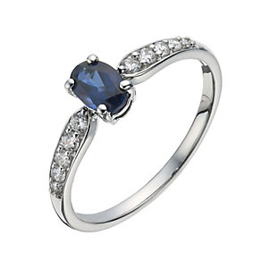 9ct white gold created sapphire oval ring - Product number 1343602