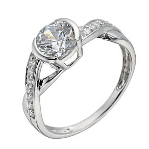 9ct white gold cubic zirconia kiss ring - Product number 1344005