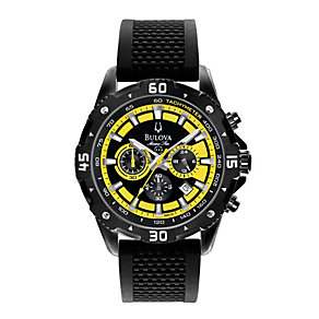 Bulova Marine Star Men's Yellow & Black Rubber Strap Watch - Product number 1344692