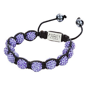 Shimla Purple Crystal Bead Black Rope Bracelet - Product number 1346008